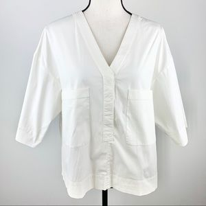 Theory white boxy v-neck shirt with two pockets